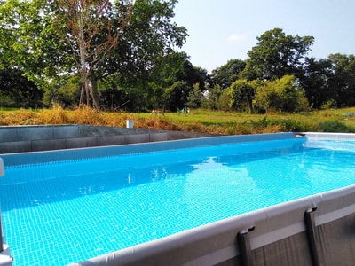 Heated pool at La Rougerie Farm